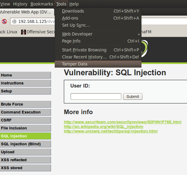 Sec24 hur hackar man DVWA penetrationstest SQL Injection Sqlmap 1
