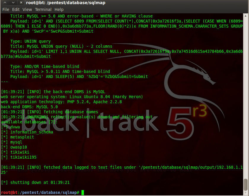 Sec24 hur hackar man DVWA penetrationstest SQL Injection Sqlmap 12