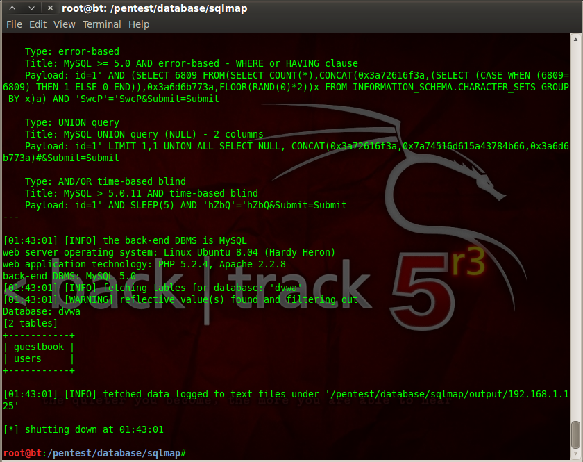Sec24 hur hackar man DVWA penetrationstest SQL Injection Sqlmap 13