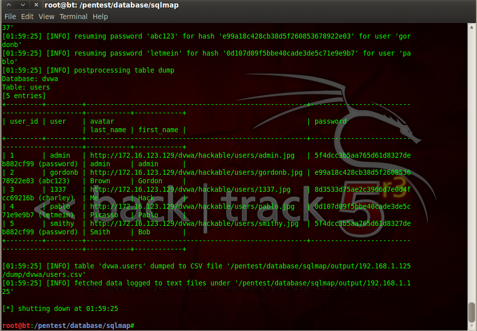 Sec24 hur hackar man DVWA penetrationstest SQL Injection Sqlmap 17