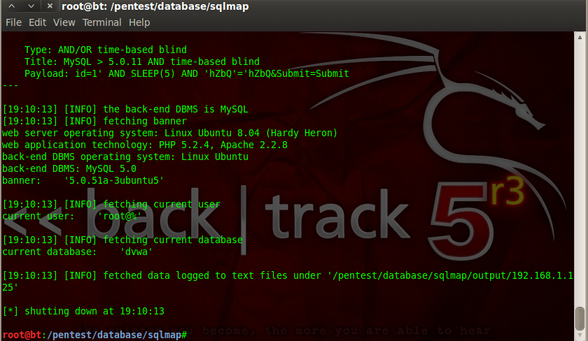 Sec24 hur hackar man DVWA penetrationstest SQL Injection Sqlmap 8