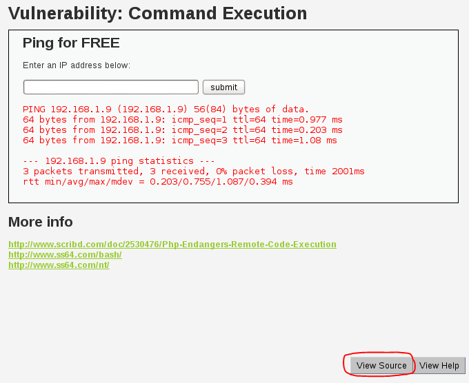 Sec24 hur hackar man DVWA penetrationstest command execution 4