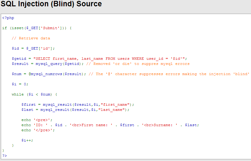 SQL Injection (Blind) Source DVWA Sec24
